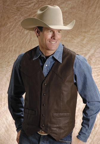 Roper Mens Brown Goat Nappa Leather Basic Saddle Western Vest