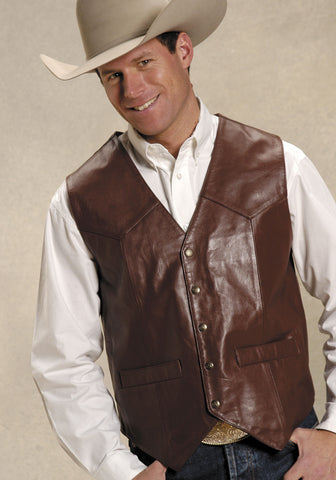 Roper Mens Brown Goat Nappa Leather Basic Tall Man Saddle Western Vest
