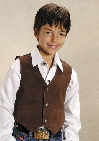Roper Boys Brown Cow Suede Leather Solid Snap Button Classic Western Vest