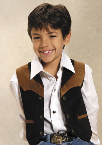 Roper Kids Boys Black Contrast Lapel Suede Leather Vest Western