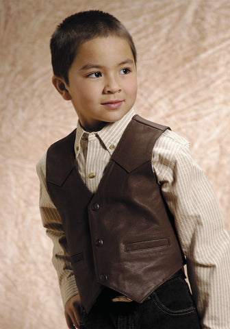 Roper Kids Boys Brown Classic Western Goat Nappa Leather Vest