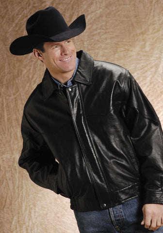 Roper Mens Black Lamb Touch Nappa Leather Jacket Big Mans Western Bomber