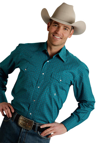 Roper Amarillo Mens Turquoise 100% Cotton Star Foulard L/S Shirt