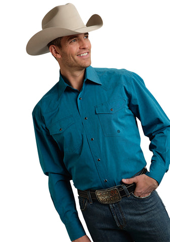 Roper Amarillo Mens Turquoise 100% Cotton Black Fill Poplin L/S Shirt