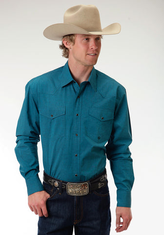 Roper Black Fill Poplin Mens Teal 100% Cotton Amarillo L/S Shirt