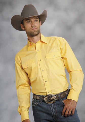Roper Mens Yellow 100% Cotton L/S Snap 1 Pt Back Yoke Poplin Western Shirt