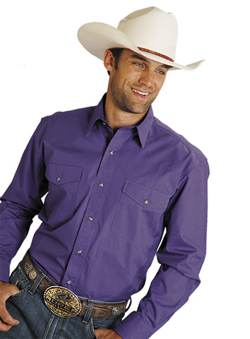 Roper Mens Purple 100% Cotton L/S Snap 1 Pt Back Yoke Poplin Western Shirt