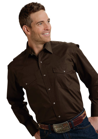 Roper Basic Solid Mens Chocolate 100% Cotton L/S 2 Pkt Western Shirt