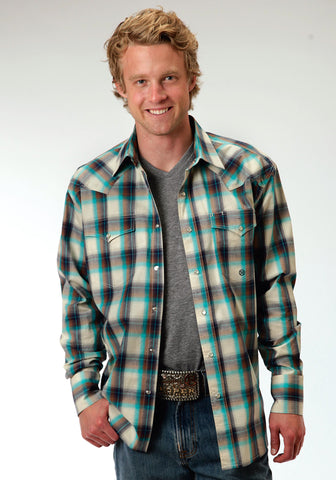 Roper Sage Plaid Mens White 100% Cotton Amarillo L/S Shirt