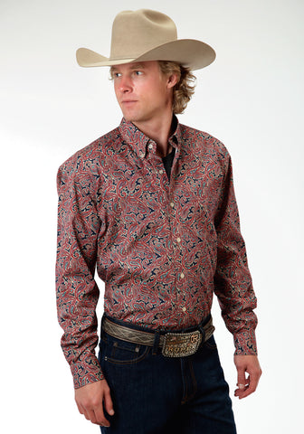 Roper Layered Paisley Mens Red 100% Cotton BD L/S Shirt