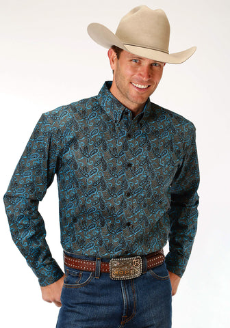 Roper Amarillo Mens Brown 100% Cotton Celtic Paisley BD L/S Shirt