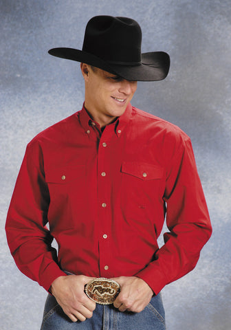 Roper Mens Red 100% Cotton L/S Button Down Solid Poplin Western Shirt