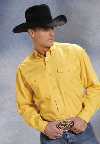 Roper Mens Yellow 100% Cotton L/S Button Down Solid Poplin Western Shirt