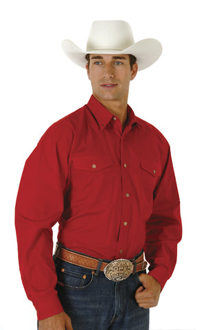 Roper Mens Red 100% Cotton L/S Tall Solid Poplin Long Tail Western Shirt