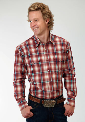 Roper Wine Plaid Mens Red 100% Cotton Snap Tall L/S Shirt
