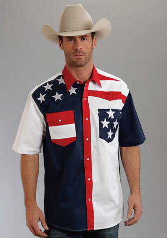 Roper Americana Mens Blue 100% Cotton S/S Colorblock Flag Snap Western Shirt