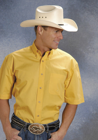 Roper Mens Yellow 100% Cotton S/S 1 Pkt Button Down Poplin Western Shirt