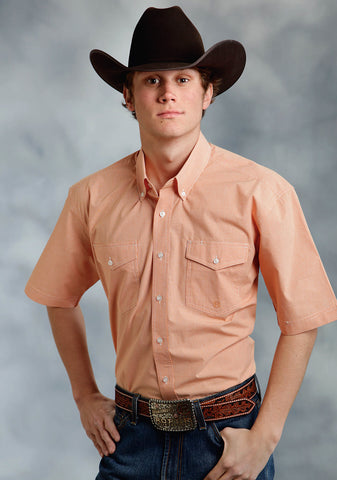 Roper Amarillo Mens Orange 100% Cotton Mini Checks S/S Shirt