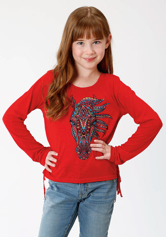 Roper Girls Kids Red Poly/Rayon Colorful Horse L/S T-Shirt