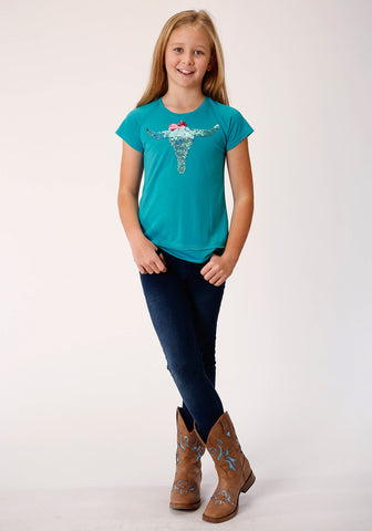 Roper Girls Turquoise Poly/Rayon Longhorn S/S T-Shirt