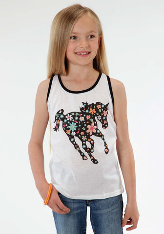 Roper Floral Horse Girls White Cotton Blend Black Tank Top