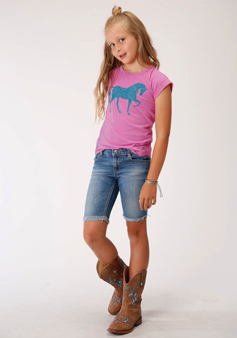 Roper Kids Girls Pink Poly/Rayon Blue Horse S/S T-Shirt