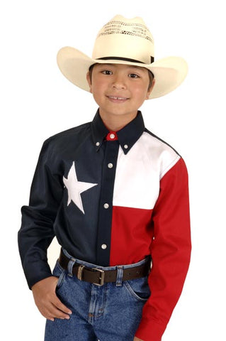 Roper Boys Americana Navy 100% Cotton L/S Texas Flag Button Western Shirt