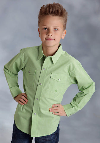 Roper Amarillo Boys Green 100% Cotton Mini Check Lime L/S Shirt