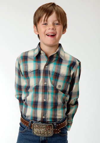 Roper Sage Plaid Boys White 100% Cotton Amarillo L/S Shirt