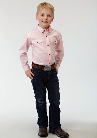 Roper Basics Boys Pink 100% Cotton Solid Poplin Btn L/S Shirt