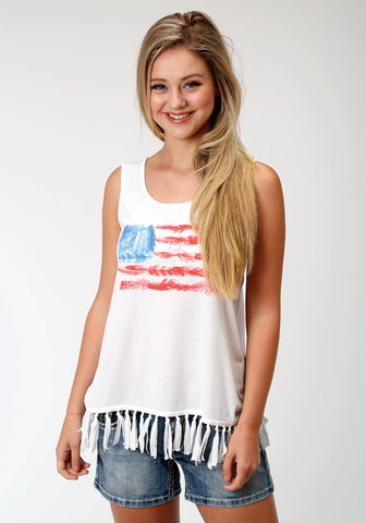 Roper Womens White Cotton Blend Feather Flag Tank Top