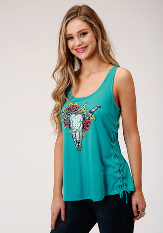 Roper Womens Turquoise Poly/Rayon Longhorn & Roses S/L Tank Top