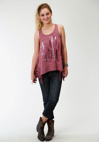 Roper Womens Purple Cotton Blend Fringed Glam Tank Top