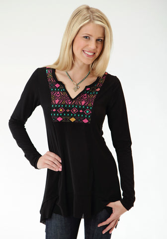 Roper Faux Embroidery Print Ladies Black Poly/Spandex L/S Tunic