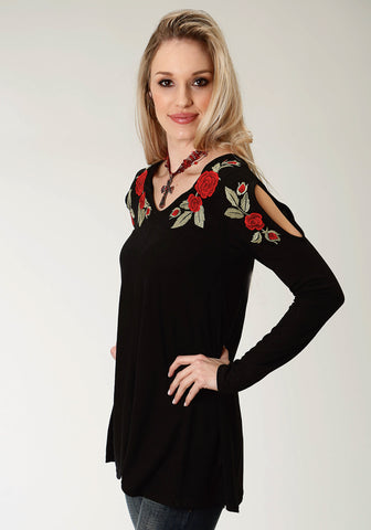 Roper Rose Womens Black Poly/Rayon Cold Shoulder L/S Tunic