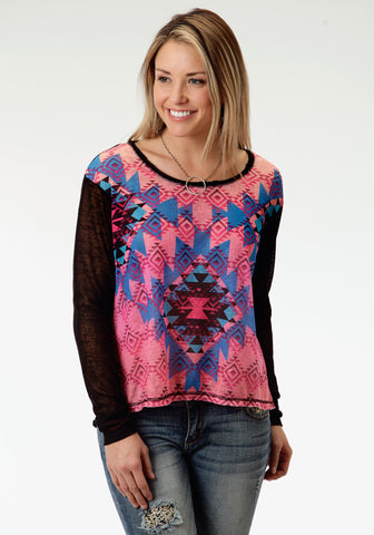 Roper Colorful Aztec Ladies Black Polyester L/S T-Shirt