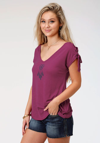 Roper Womens Purple Poly/Rayon Dreamcatcher S/S T-Shirt