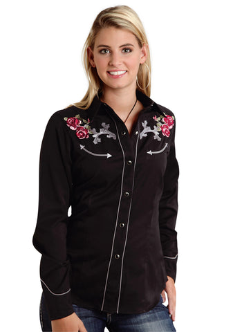 Roper Ladies Black Poly/Rayon Thistle Rose L/S Western Shirt