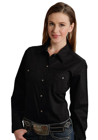 Roper Basic Solid Ladies Black 100% Cotton L/S 2 Pocket Western Shirt