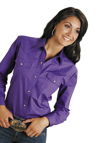 Roper Womens Purple 100% Cotton L/S Solid Poplin Snap L/S Western Shirt
