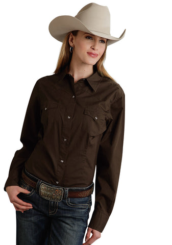 Roper Basic Solid Ladies Chocolate 100% Cotton L/S Western Shirt