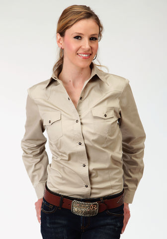 Roper Special Program Ladies Tan 100% Cotton L/S Poplin Western Shirt