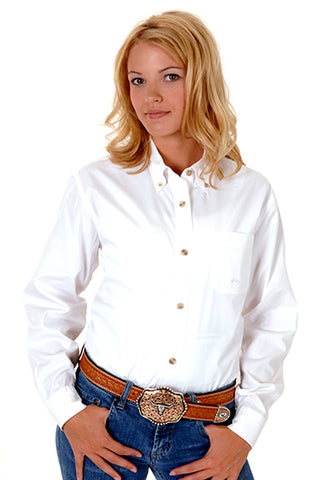 Roper Womens White 100% Cotton L/S Solid Poplin Button Down Western Shirt