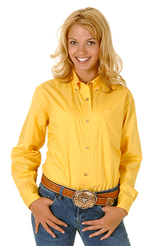 Roper Womens Yellow 100% Cotton L/S Solid Poplin Button Down Western Shirt