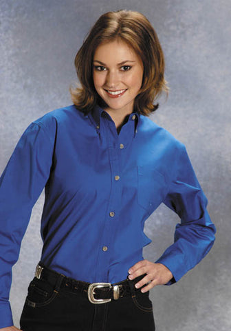 Roper Womens Blue 100% Cotton L/S Solid Poplin Button Down Western Shirt