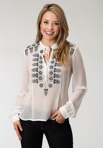 Roper Womens White Polyester Sheer Georgette L/S Blouse