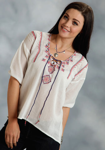 Roper Autumn Rose Ladies White 100% Cotton Embroidered Blouse L/S Shirt