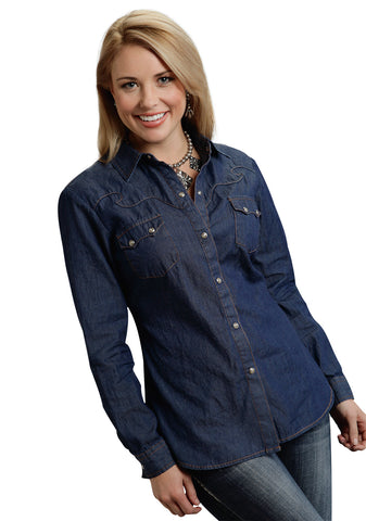 Roper Moon Ladies Blue 100% Cotton Retro Indigo L/S Shirt