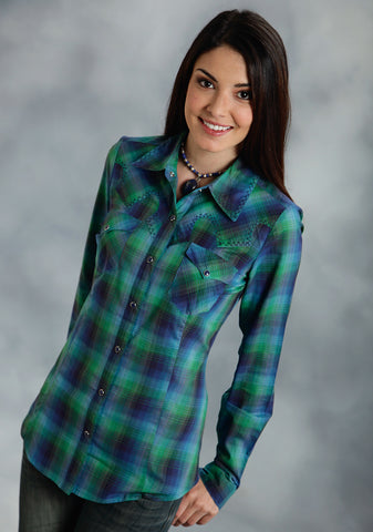 Roper Five Star Ladies Green 100% Cotton Ombre Plaid Lean L/S Shirt