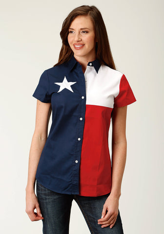 Roper Womens Red/Blue 100% Cotton Texas Flag BD S/S Shirt
